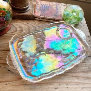 Vintage Yorktown Federal Glass Iridescent Plates
